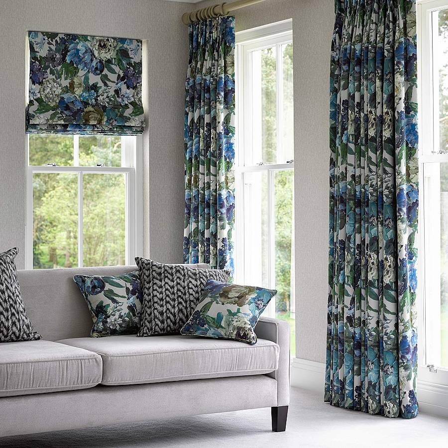 Coordinated curtains, blinds and cushions