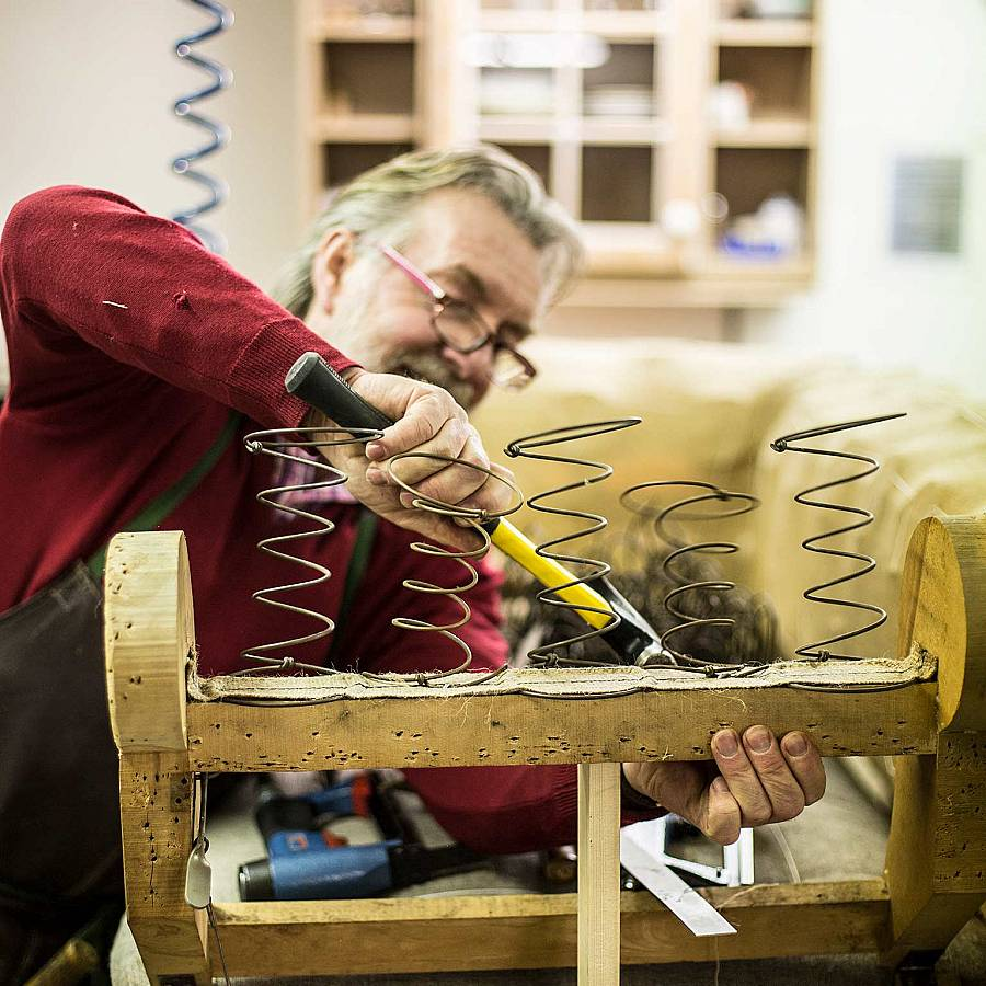The upholsterer in the workshop